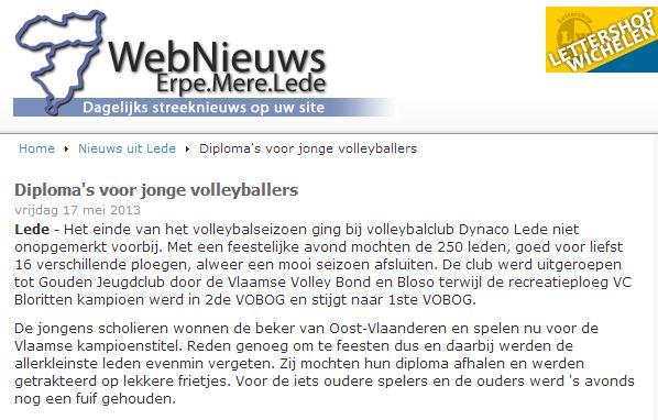 diploma voor jone volleyballers